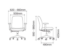Arona Executive Low Back Leather Office Chair Dimension
