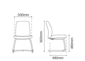 Arona Visitor/Conference Leather Office Chair Without Arm Dimension