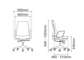 Clover Executive Low Back Fabric Office Chair Dimension