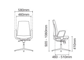 Clover Visitor/Conference Fabric Office Chair With Arm Dimension