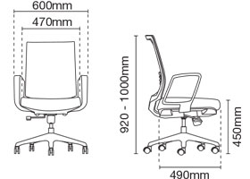 Intouch Executive Low Back Office Chair Dimension