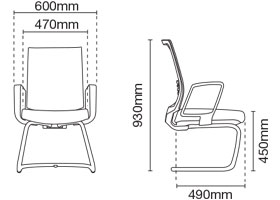 Intouch Visitor/Conference Office Chair Dimension