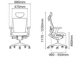 Maxim Presidential High Back Office Chair Dimension
