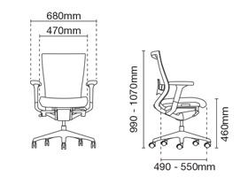 Maxim Presidential Medium Back Office Chair Dimension