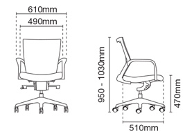 Maxim Executive Low Back Office Chair Dimension
