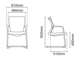 Maxim Visitor/Conference Office Chair Dimension