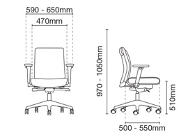 Pegaso Lowres Executive Low Back Office Chair Dimension