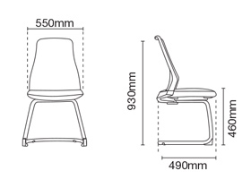 Pico Lowres Visitor/Conference Office Chair Dimension