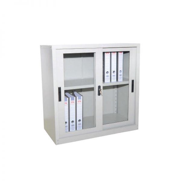 Half Height Cupboard with Glass Sliding Door c/w 1 adjustable shelf