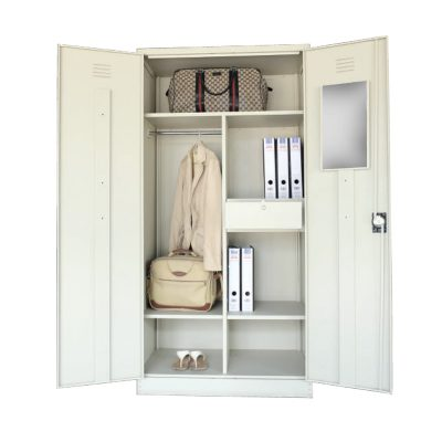 Full Height Wardrobe with Steel Swinging Door c/w 1 Cloth Hanging Bar, 3 Fix Shelves, 1 Drawer with Camlock & 1 Mirror