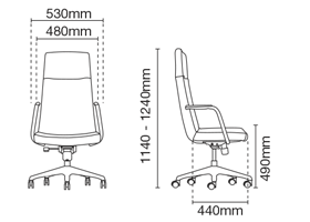 Smarty Presidential High Back Fabric Office Chair Dimension