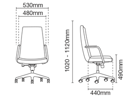 Smarty Presidential Medium Back Fabric Office Chair Dimension