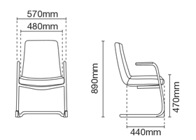 Smarty Visitor/Conference Fabric Office Chair With Arm Dimension