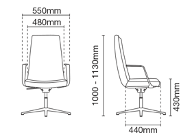 Smarty Leather Executive Low Back Office Chair Dimension