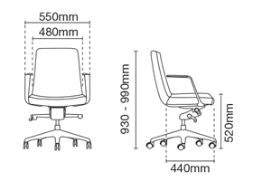 Smarty Leather Visitor / Conference Chair Without Arm Dimension