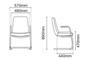 Smarty Leather Visitor / Conference Chair With Arm Dimension