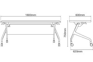 Strand ST9114-FL90 Foldable Table Dimension