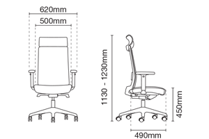 Surface Presidential High Back Office Chair Dimension