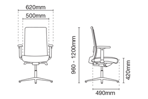 Surface Visitor/Conference Office Chair Dimension