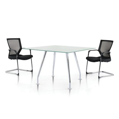 Ixia Chrome with tempered glass top discussion table