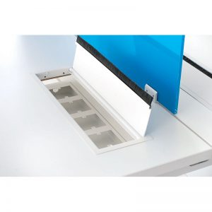Table with simple metal flipper door for sockets