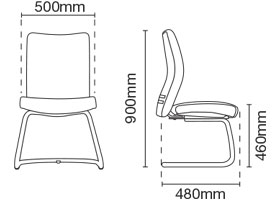 Ergo Visitor/Conference Leather Office Chair Without Arm Dimension
