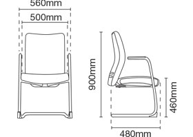 Ergo Visitor/Conference Fabric Office Chair With Arm Dimension
