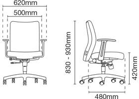 Ergo Presidential Medium Back Fabric Office Chair Dimension