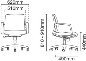 Fits Presidential Medium Back Fabric Office Chair Dimension