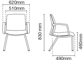 Fits Visitor/Conference Fabric Office Chair With Arm Dimension