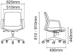 Fits Executive Low Back Leather Office Chair Dimension
