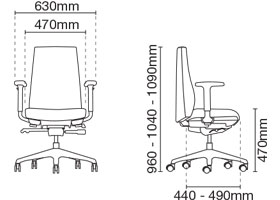 Hugo Executive Low Back Fabric Office Chair Dimension