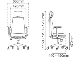 Hugo Presidential High Back Fabric Office Chair Dimension