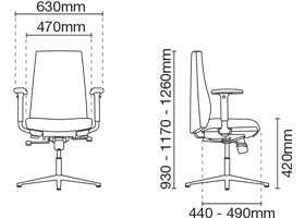 Hugo Visitor/Conference Fabric Office Chair With Arm Dimension