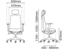 Hugo Presidential Medium Back Leather Office Chair Dimension