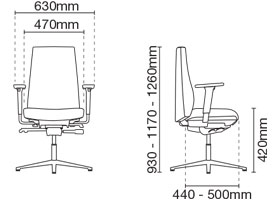 Hugo Visitor/Conference Leather Office Chair With Arm Dimension