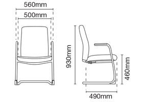 Karisma Visitor/Conference Office Fabric Chair With Arm Dimension