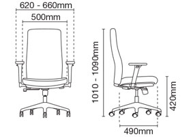 Karisma Presidential Medium Back Leather Office Chair Dimension