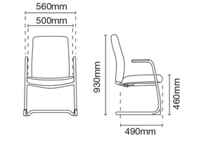 Karisma Visitor/Conference Office Leather Chair With Arm Dimension