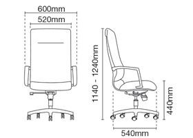 Klair Presidential High Back Fabric Office Chair Dimension