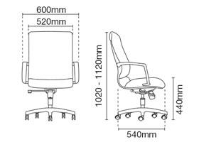 Klair Presidential Medium Back Fabric Office Chair Dimension