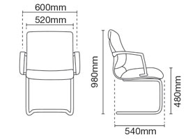 Klair Visitor/Conference Fabric Office Chair With Arm Dimension