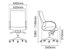 Klair Presidential Medium Back Leather Office Chair Dimension