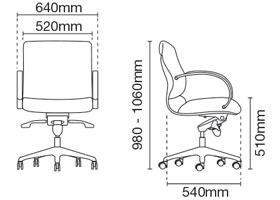 Klair Executive Low Back Leather Office Chair Dimension