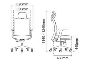 Mesh 2 Presidential High Back Office Chair Dimension