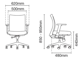Mesh 2 Executive Low Back Office Chair Dimension