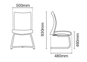 Mesh 2 Visitor/Conference Office Chair Dimension