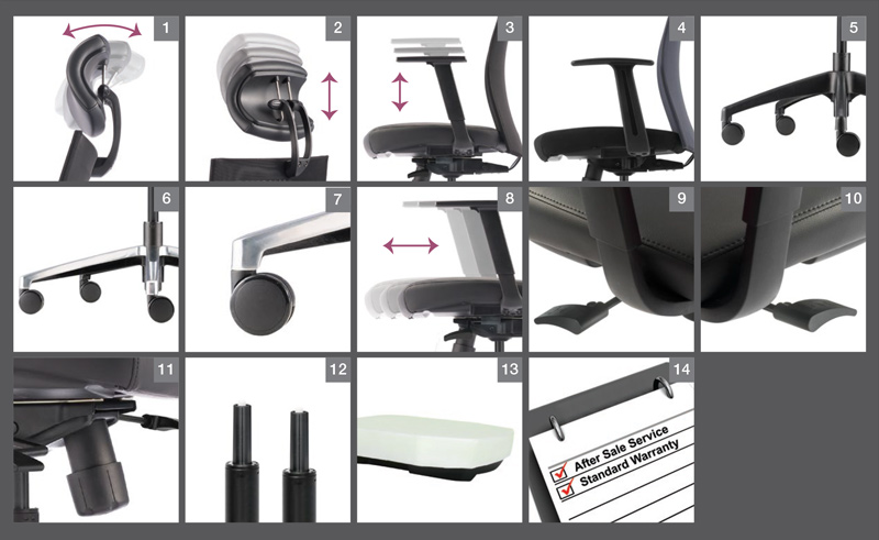 Mesh 2 Series Office Chair Optional Specification