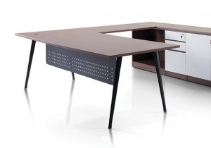 Nistra Leg with rounded corner modesty panel design. Sleek European styling the perfect choice for office.