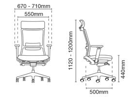 Royce Presidential High Back Fabric Office Chair Dimension